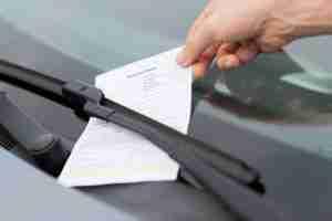 Traffic ticket on a windshield