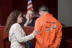 Defendant being sentenced in court
