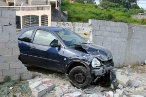 Car crashed through wall