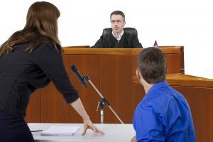 Lawyer and man in court