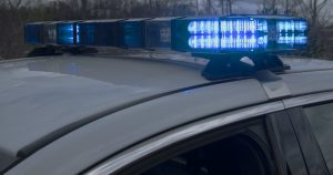 Police lights on car