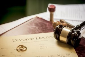 Divorce decree with gavel