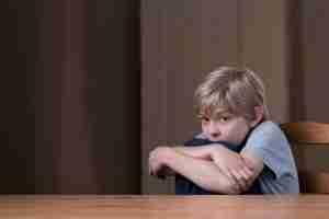 Scared child alone