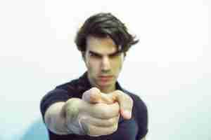 Man pointing finger